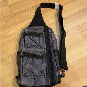 Thirty-One Sling Back Bag NEW Charcoal Crosshatch